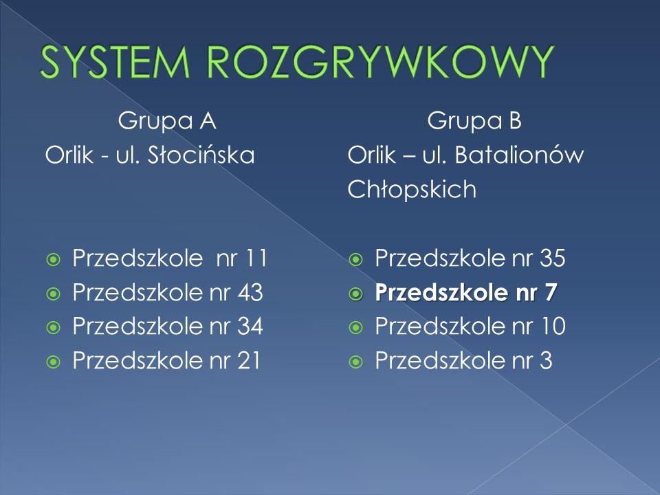 SYSTEM ROZGRYWKOWY Grupa A Orlik - ul. Słocińska Przedszkole nr 11