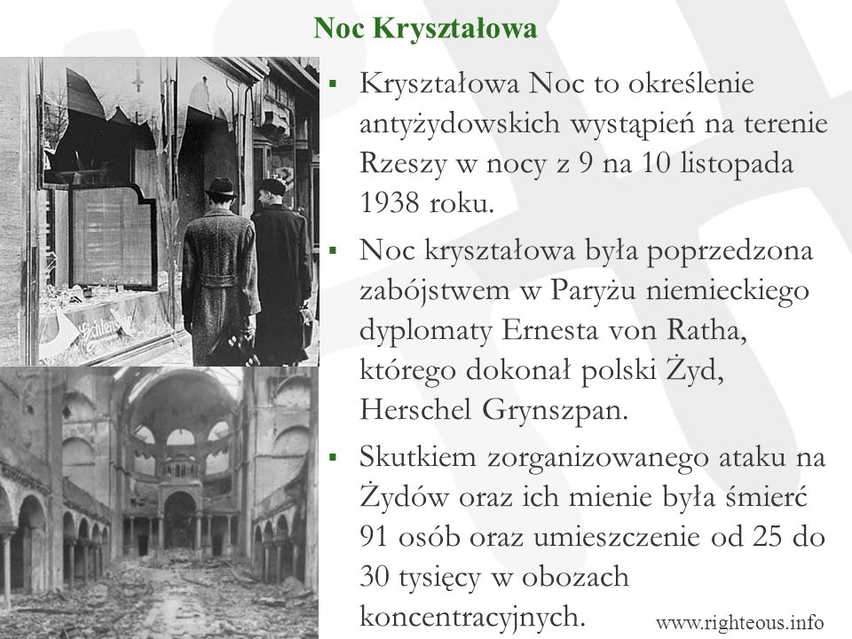 Noc Kryształowa Kryształowa Noc to określenie antyżydowskich wystąpień na terenie Rzeszy w nocy z 9 na 10 listopada 1938 roku.
