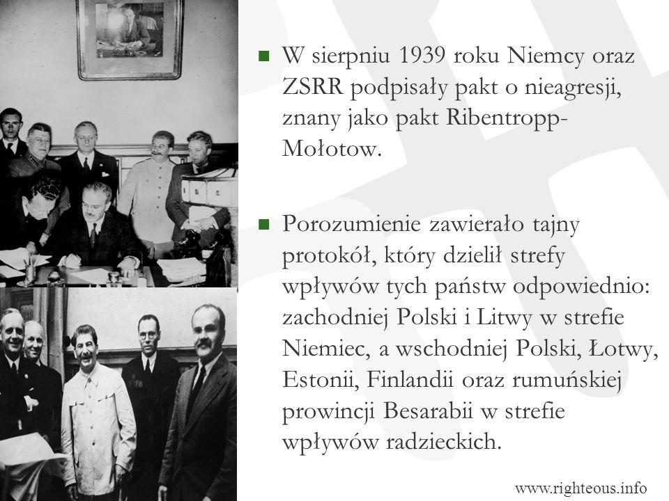 W sierpniu 1939 roku Niemcy oraz ZSRR podpisały pakt o nieagresji, znany jako pakt Ribentropp- Mołotow.