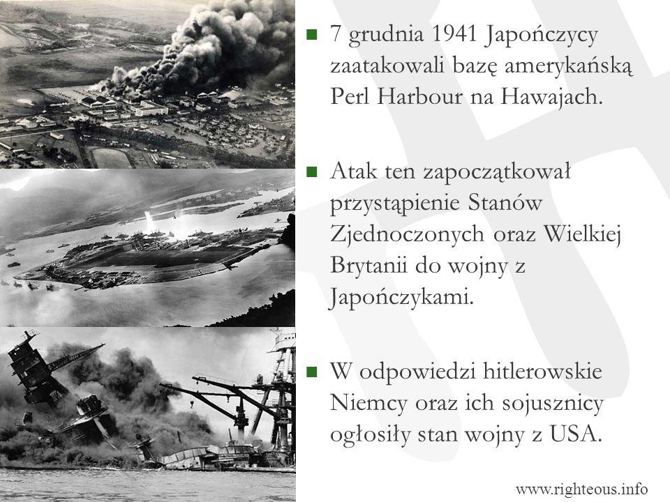 7 grudnia 1941 Japończycy zaatakowali bazę amerykańską Perl Harbour na Hawajach.