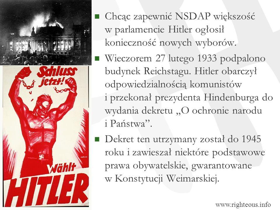 Chcąc zapewnić NSDAP większość w parlamencie Hitler ogłosił konieczność nowych wyborów.