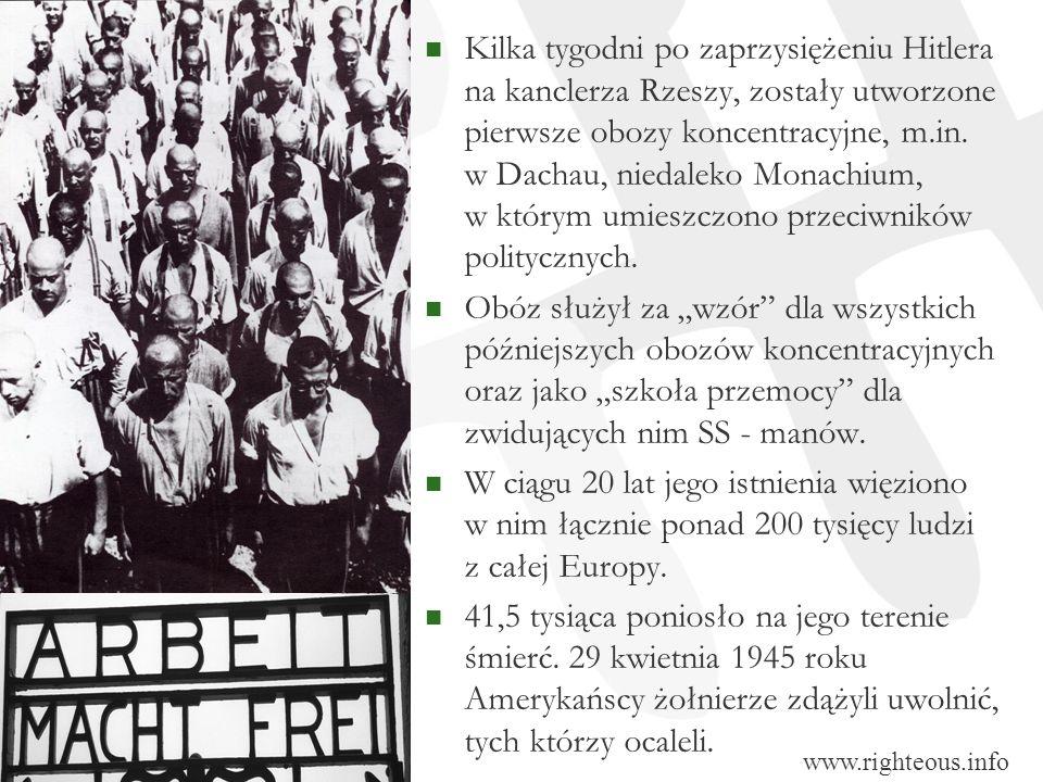 Kilka tygodni po zaprzysiężeniu Hitlera na kanclerza Rzeszy, zostały utworzone pierwsze obozy koncentracyjne, m.in. w Dachau, niedaleko Monachium, w którym umieszczono przeciwników politycznych.