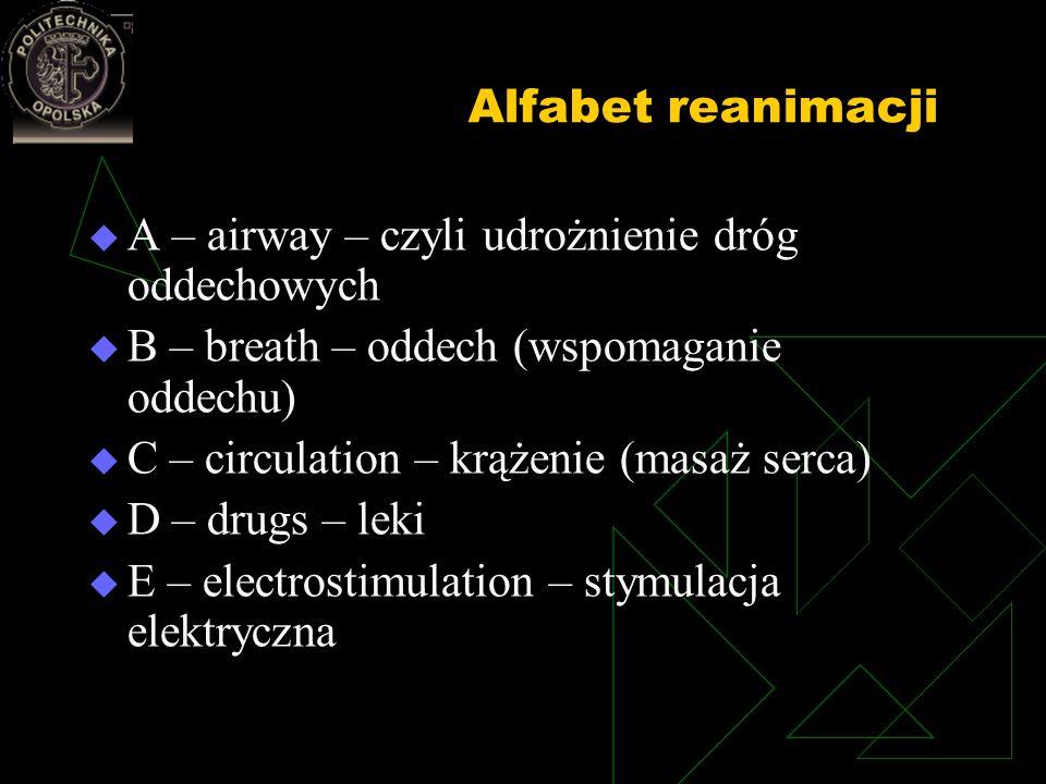 Alfabet reanimacji A – airway – czyli udrożnienie dróg oddechowych. B – breath – oddech (wspomaganie oddechu)