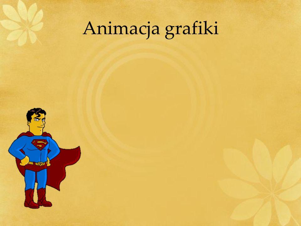 Animacja grafiki Ustaw animację tak aby wszystko działo się automatycznie: Czesio podchodzi do Supermana.