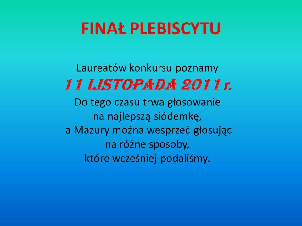 FINAŁ PLEBISCYTU 11 listopada 2011 r. Laureatów konkursu poznamy