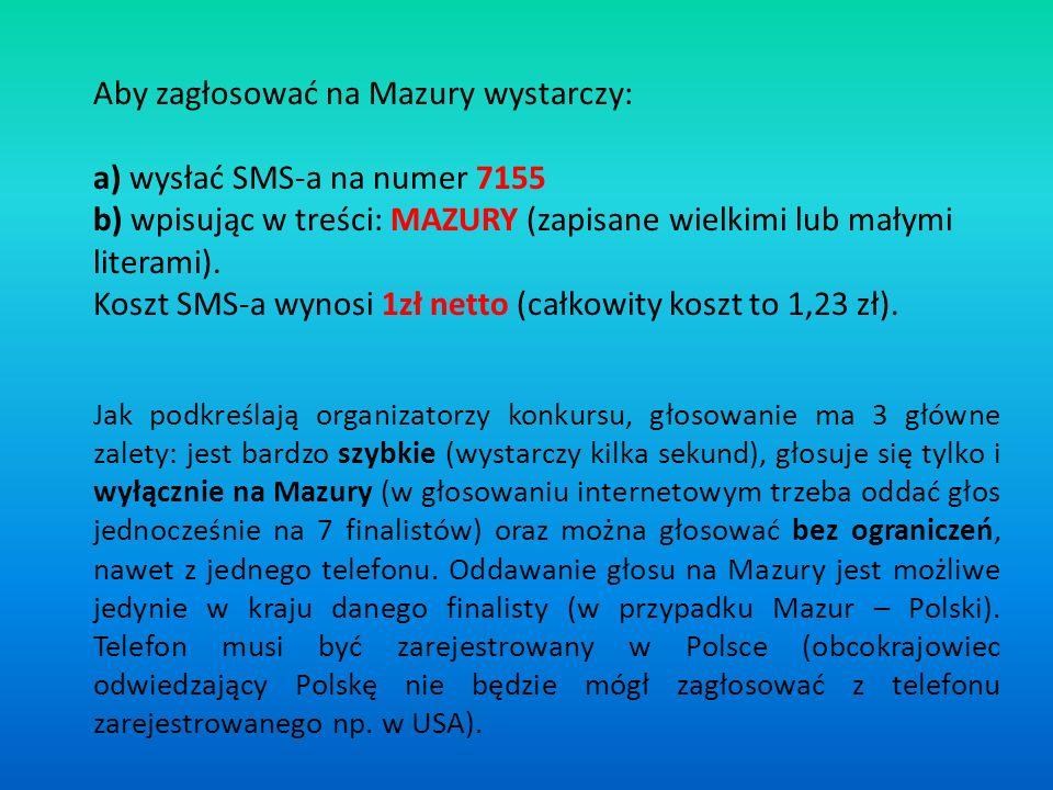 Aby zagłosować na Mazury wystarczy: a) wysłać SMS-a na numer 7155