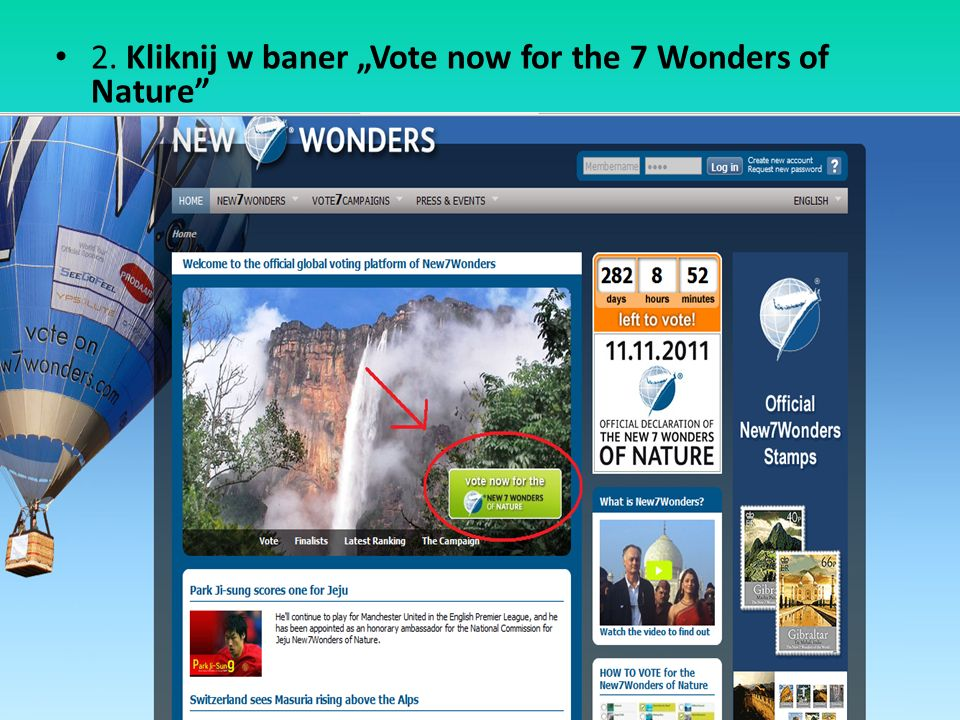 "2. Kliknij w baner ""Vote now for the 7 Wonders of Nature"