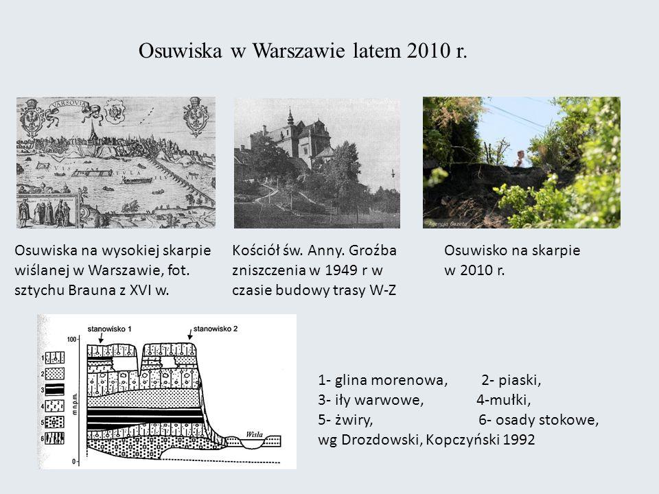 Osuwiska w Warszawie latem 2010 r.