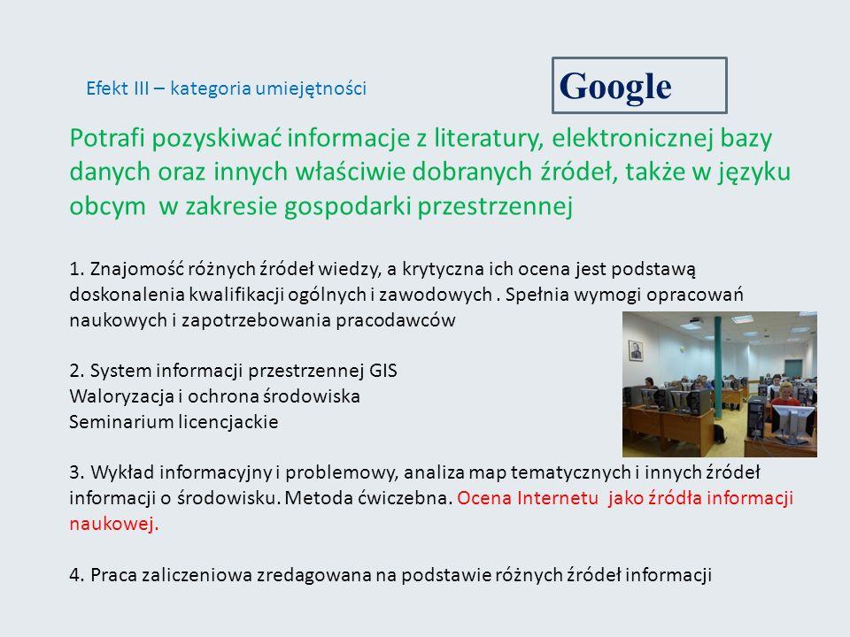 Google Efekt III – kategoria umiejętności.