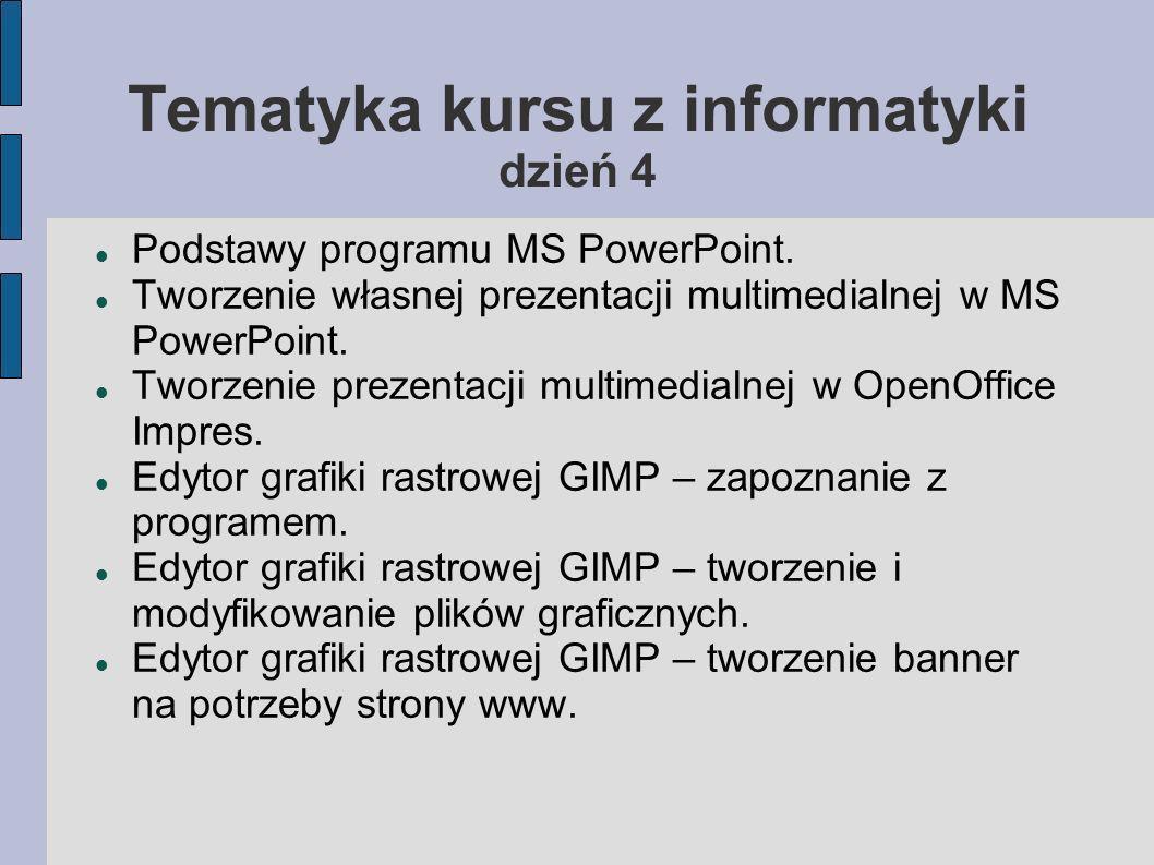 Tematyka kursu z informatyki dzień 4