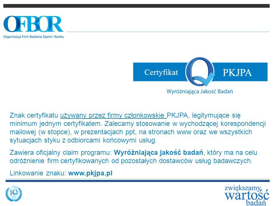 Znak certyfikatu używany przez firmy członkowskie PKJPA, legitymujące się minimum jednym certyfikatem. Zalecamy stosowanie w wychodzącej korespondencji mailowej (w stopce), w prezentacjach ppt, na stronach www oraz we wszystkich sytuacjach styku z odbiorcami końcowymi usług.