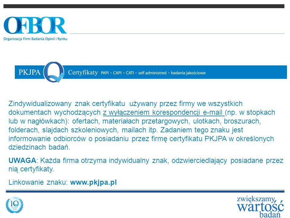 Zindywidualizowany znak certyfikatu używany przez firmy we wszystkich dokumentach wychodzących z wyłączeniem korespondencji e-mail (np. w stopkach lub w nagłówkach): ofertach, materiałach przetargowych, ulotkach, broszurach, folderach, slajdach szkoleniowych, mailach itp. Zadaniem tego znaku jest informowanie odbiorców o posiadaniu przez firmę certyfikatu PKJPA w określonych dziedzinach badań.