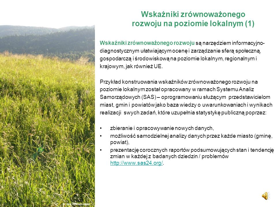 Wskaźniki zrównoważonego rozwoju na poziomie lokalnym (1)
