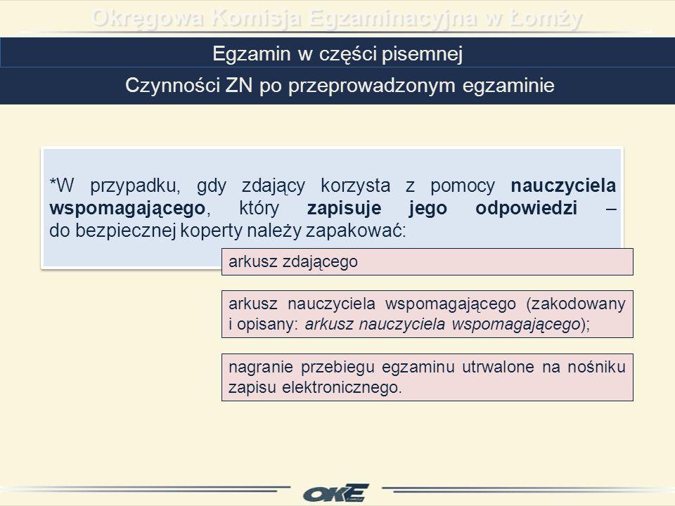 Egzamin w części pisemnej