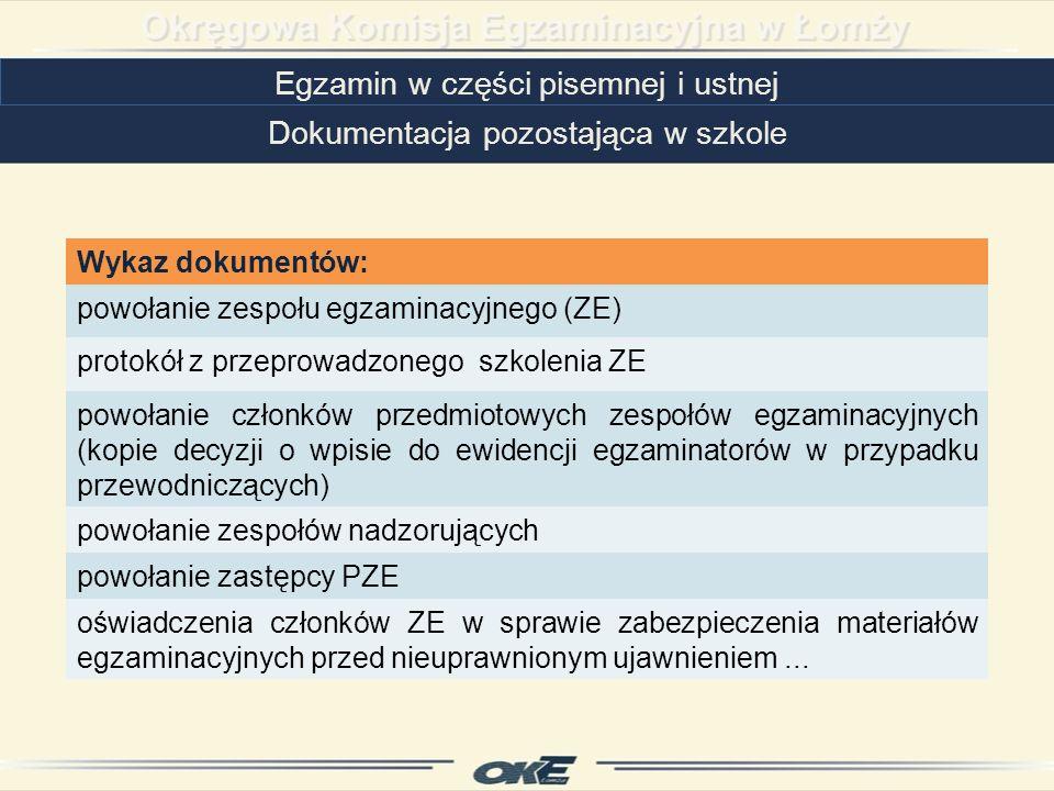 Egzamin w części pisemnej i ustnej
