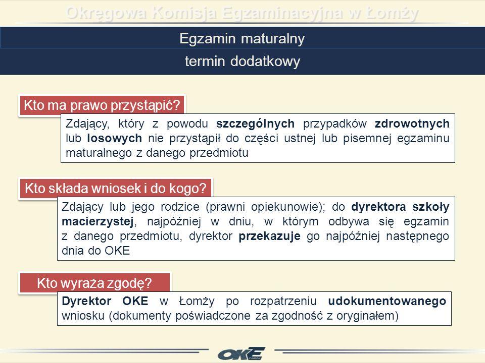 Egzamin maturalny termin dodatkowy Kto ma prawo przystąpić