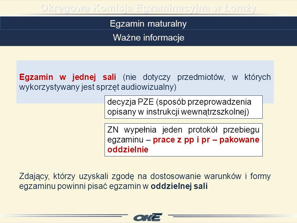 Egzamin maturalny Ważne informacje