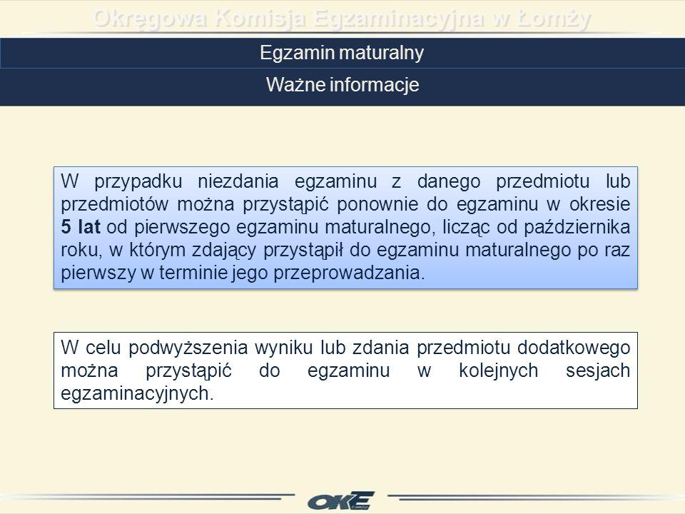 Egzamin maturalny Ważne informacje.