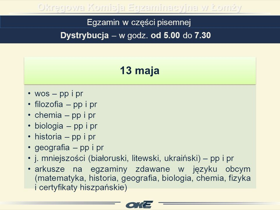 13 maja Egzamin w części pisemnej