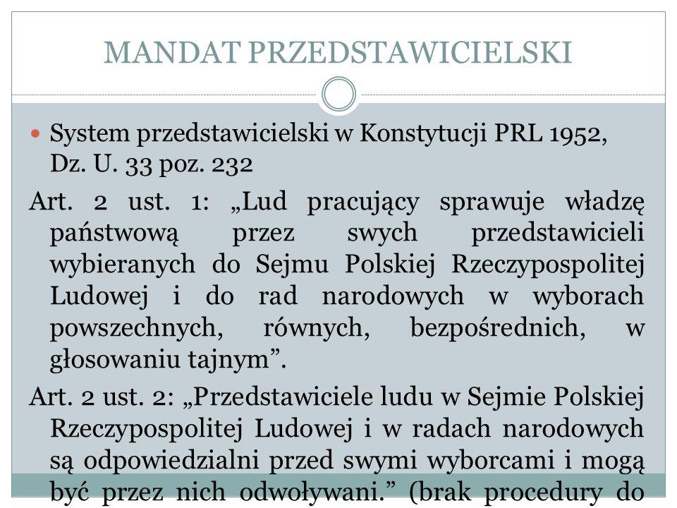MANDAT PRZEDSTAWICIELSKI
