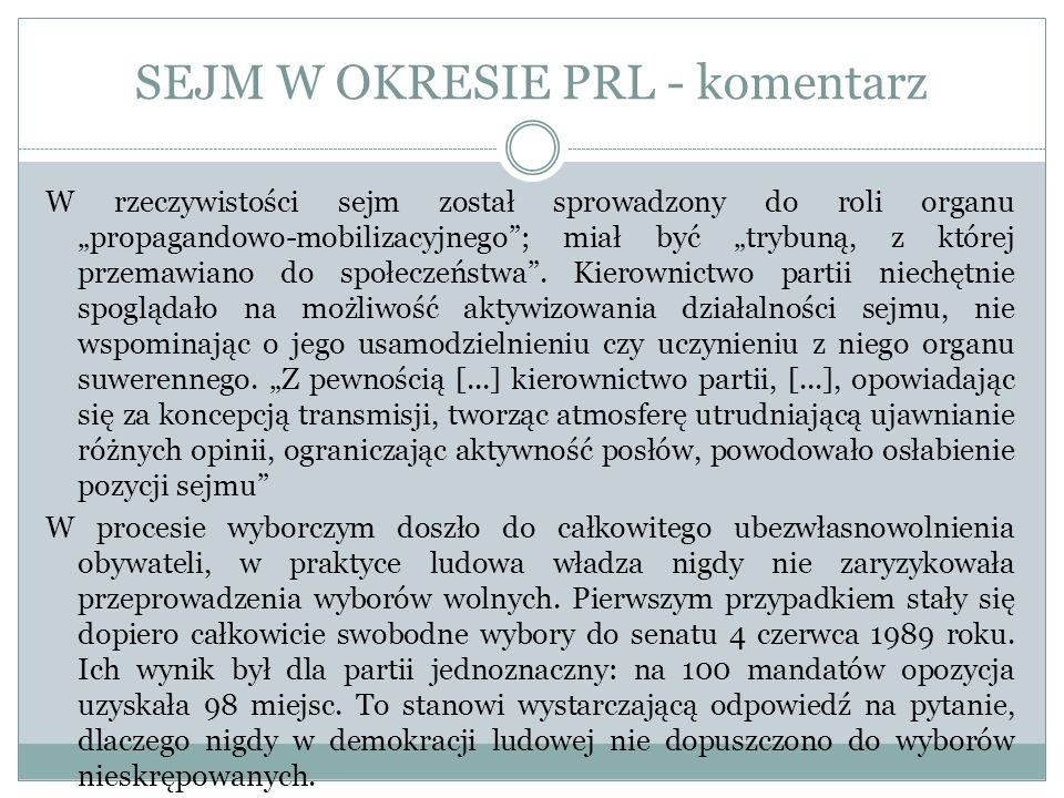 SEJM W OKRESIE PRL - komentarz