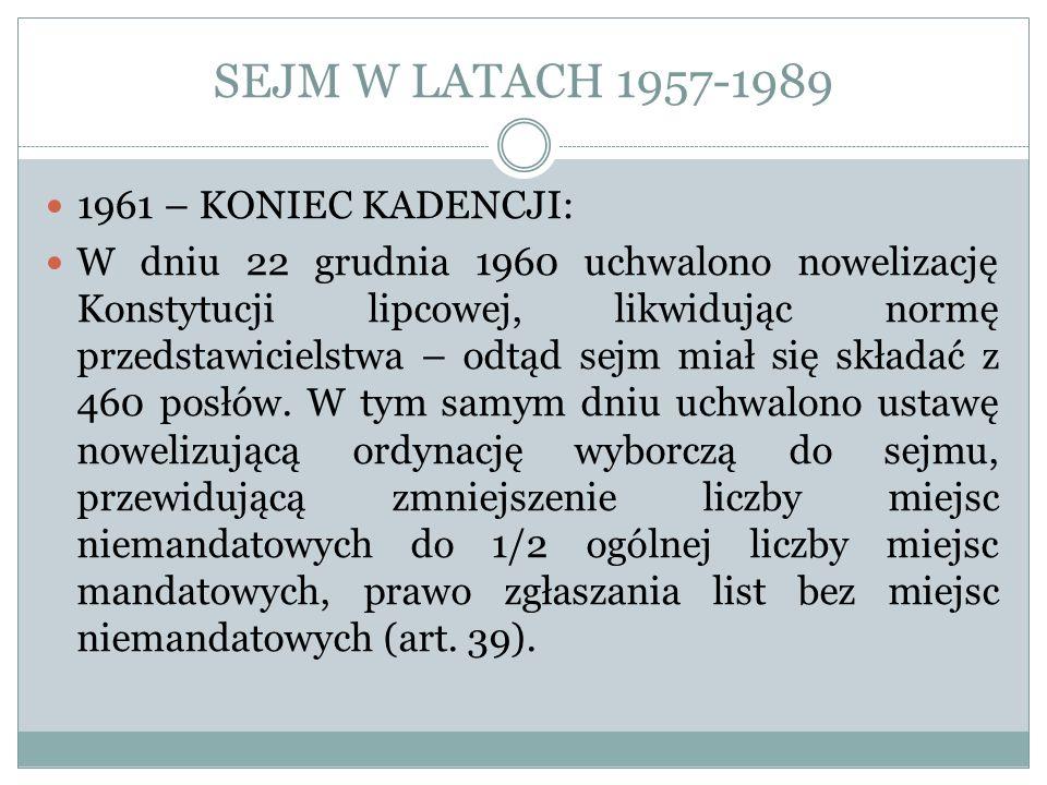 SEJM W LATACH 1957-1989 1961 – KONIEC KADENCJI: