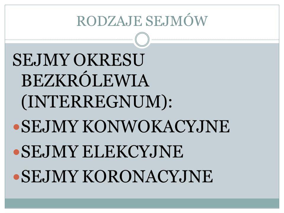 SEJMY OKRESU BEZKRÓLEWIA (INTERREGNUM):