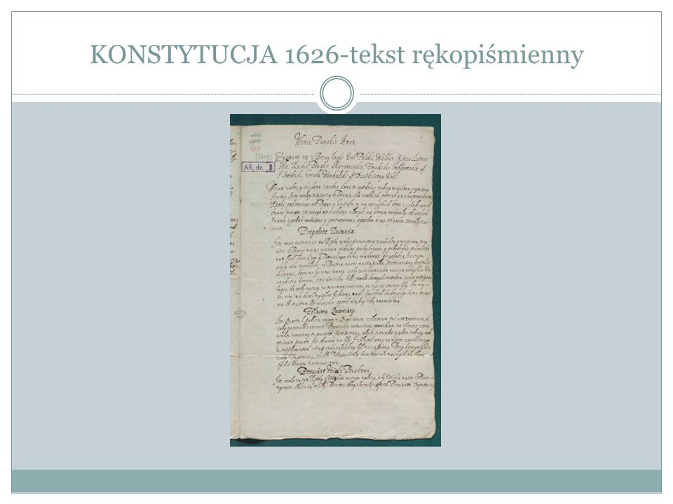 KONSTYTUCJA 1626-tekst rękopiśmienny