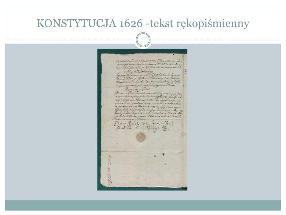 KONSTYTUCJA 1626 -tekst rękopiśmienny