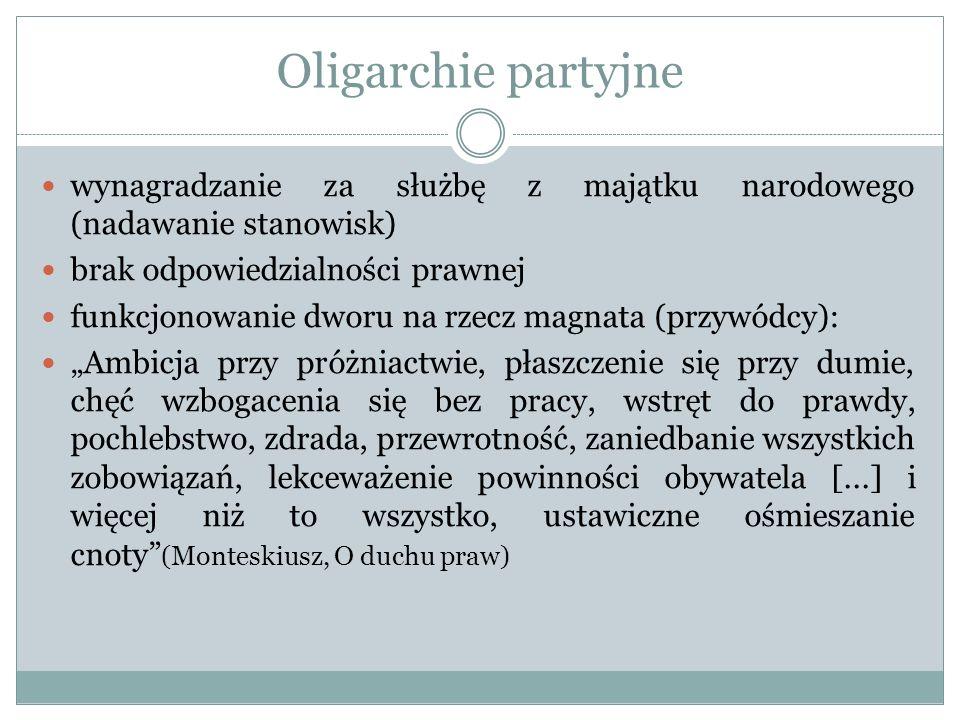 Oligarchie partyjne wynagradzanie za służbę z majątku narodowego (nadawanie stanowisk) brak odpowiedzialności prawnej.