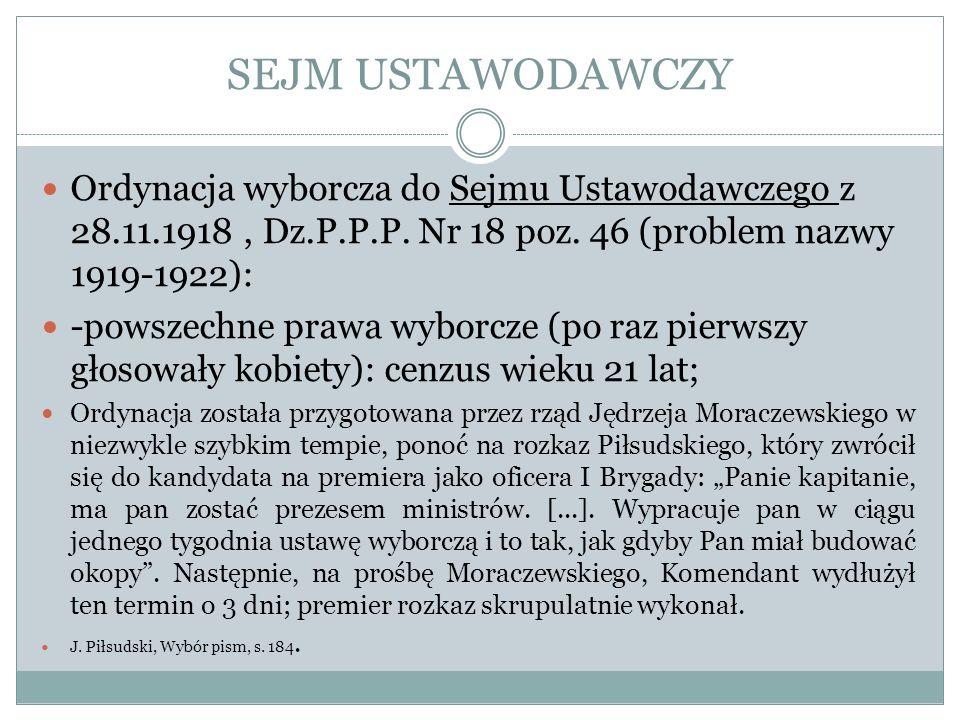 SEJM USTAWODAWCZY Ordynacja wyborcza do Sejmu Ustawodawczego z 28.11.1918 , Dz.P.P.P. Nr 18 poz. 46 (problem nazwy 1919-1922):