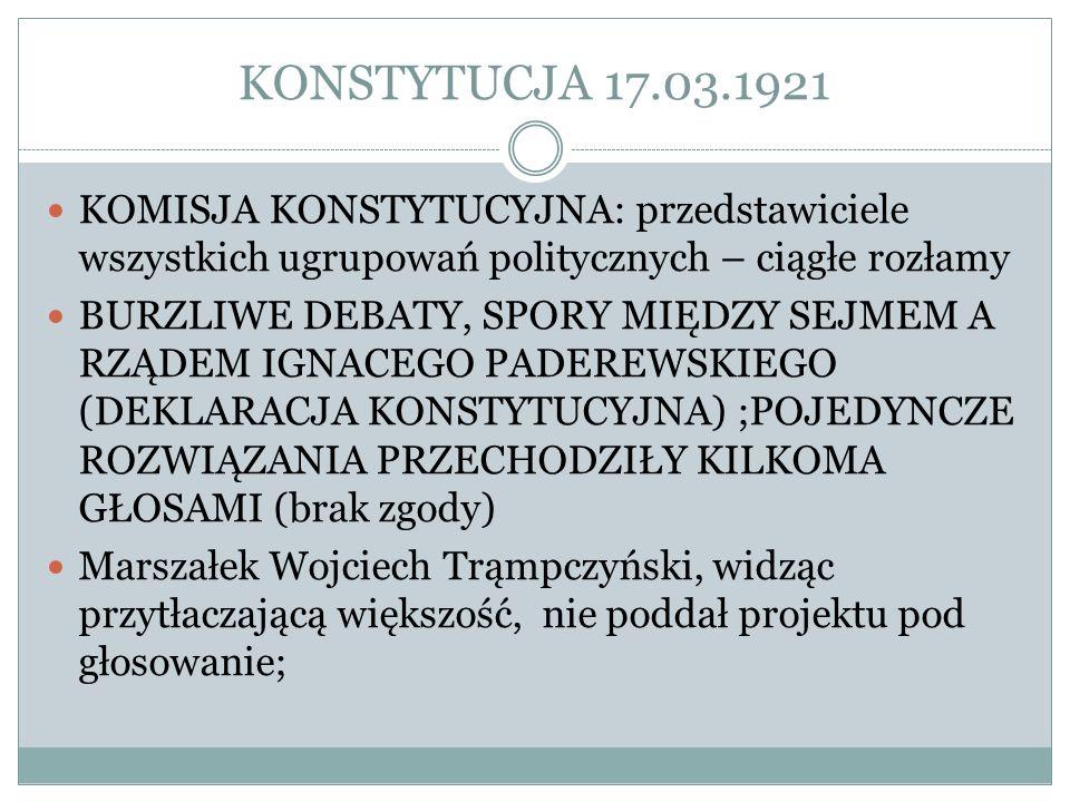 KONSTYTUCJA 17.03.1921 KOMISJA KONSTYTUCYJNA: przedstawiciele wszystkich ugrupowań politycznych – ciągłe rozłamy.
