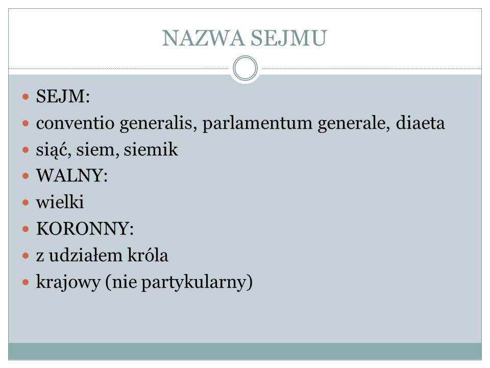 NAZWA SEJMU SEJM: conventio generalis, parlamentum generale, diaeta