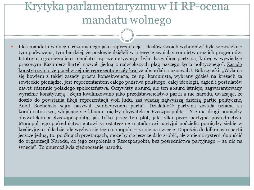 Krytyka parlamentaryzmu w II RP-ocena mandatu wolnego