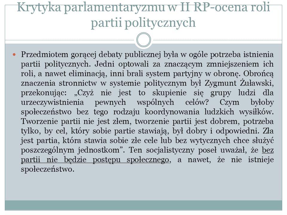 Krytyka parlamentaryzmu w II RP-ocena roli partii politycznych