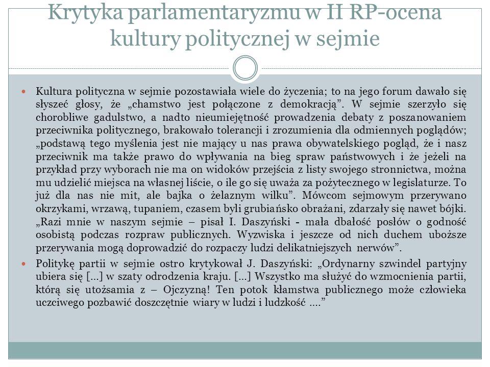 Krytyka parlamentaryzmu w II RP-ocena kultury politycznej w sejmie