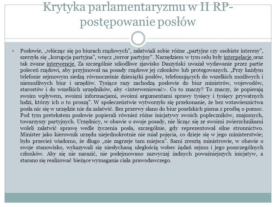 Krytyka parlamentaryzmu w II RP- postępowanie posłów