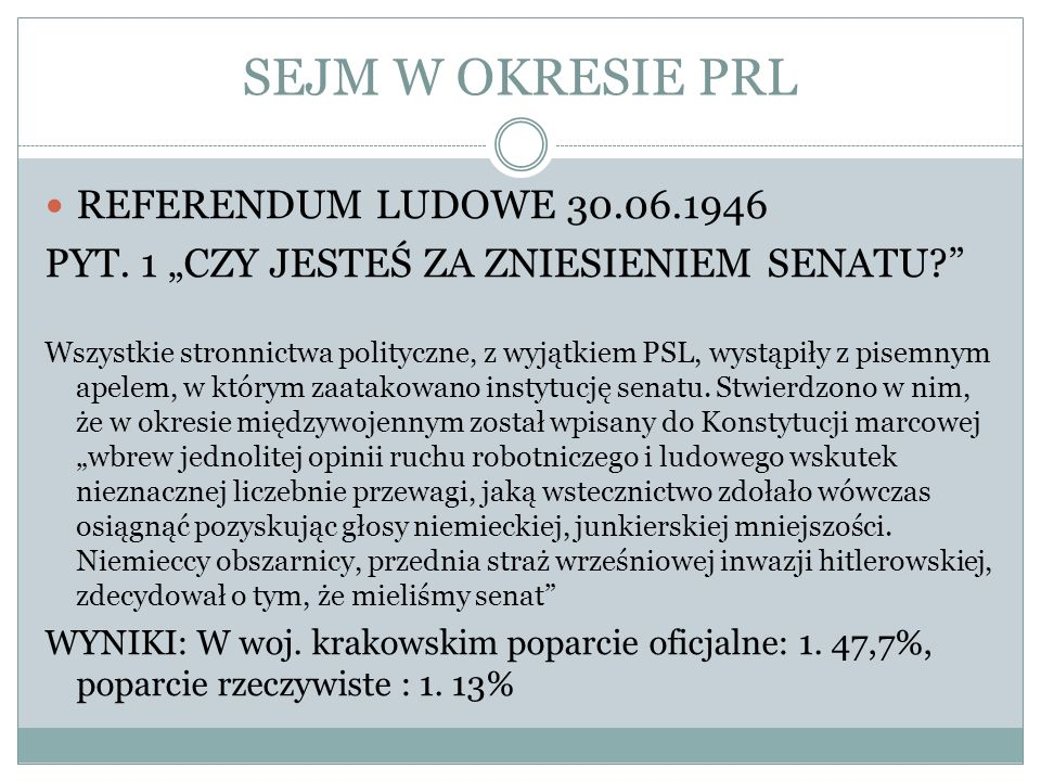SEJM W OKRESIE PRL REFERENDUM LUDOWE 30.06.1946