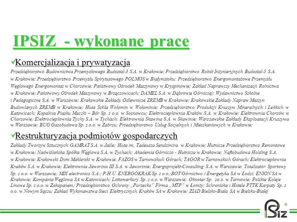IPSIZ - wykonane prace Komercjalizacja i prywatyzacja