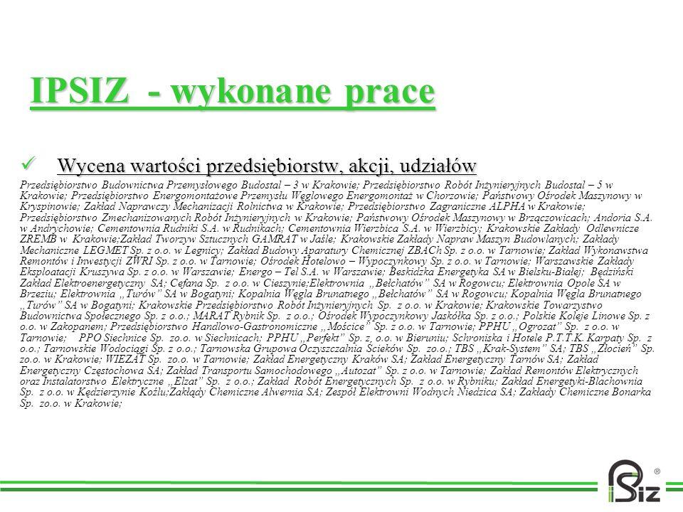 IPSIZ - wykonane prace Wycena wartości przedsiębiorstw, akcji, udziałów.
