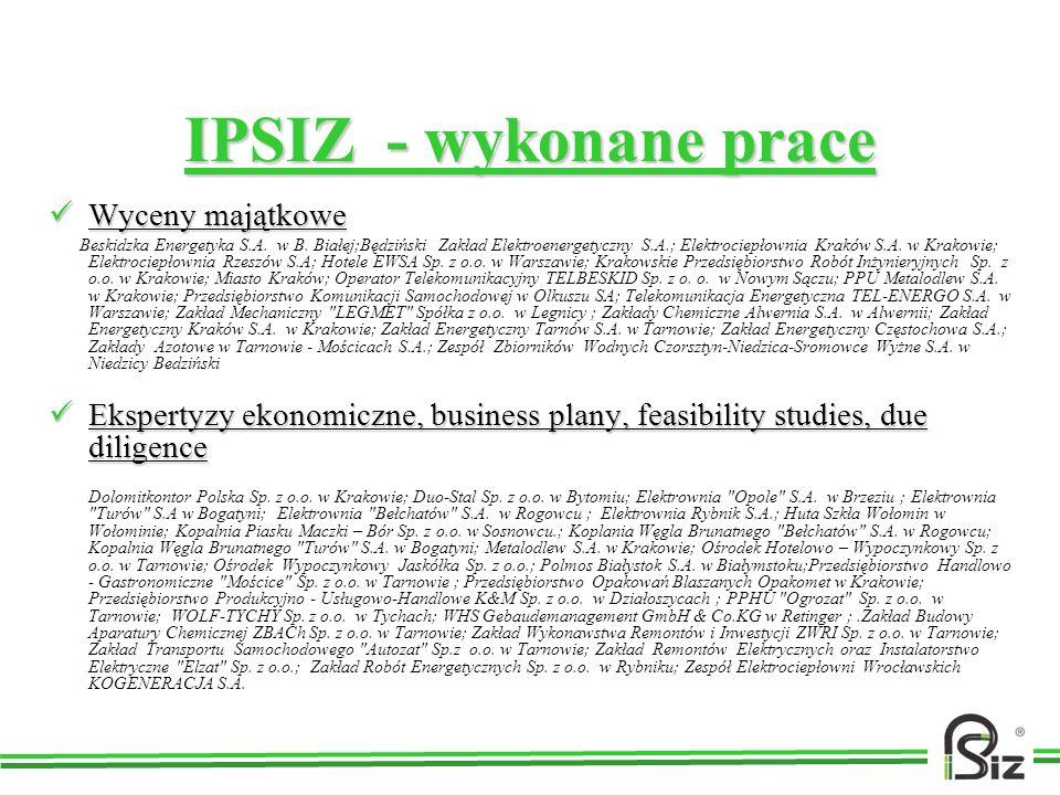 IPSIZ - wykonane prace Wyceny majątkowe