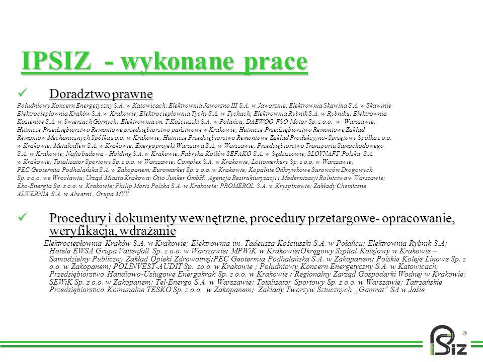 IPSIZ - wykonane prace Doradztwo prawne
