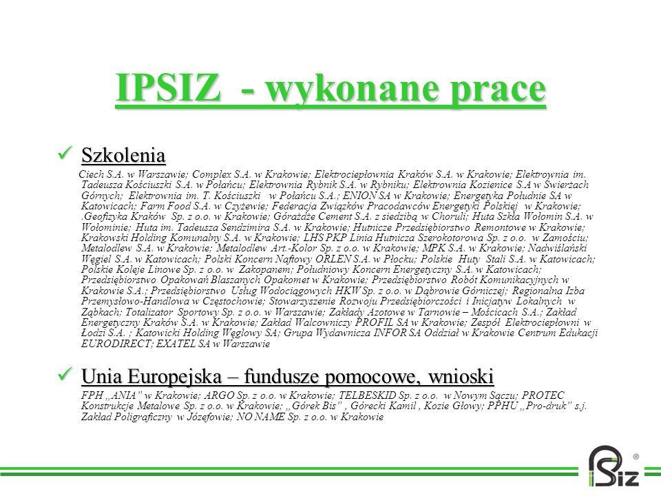 IPSIZ - wykonane prace Szkolenia