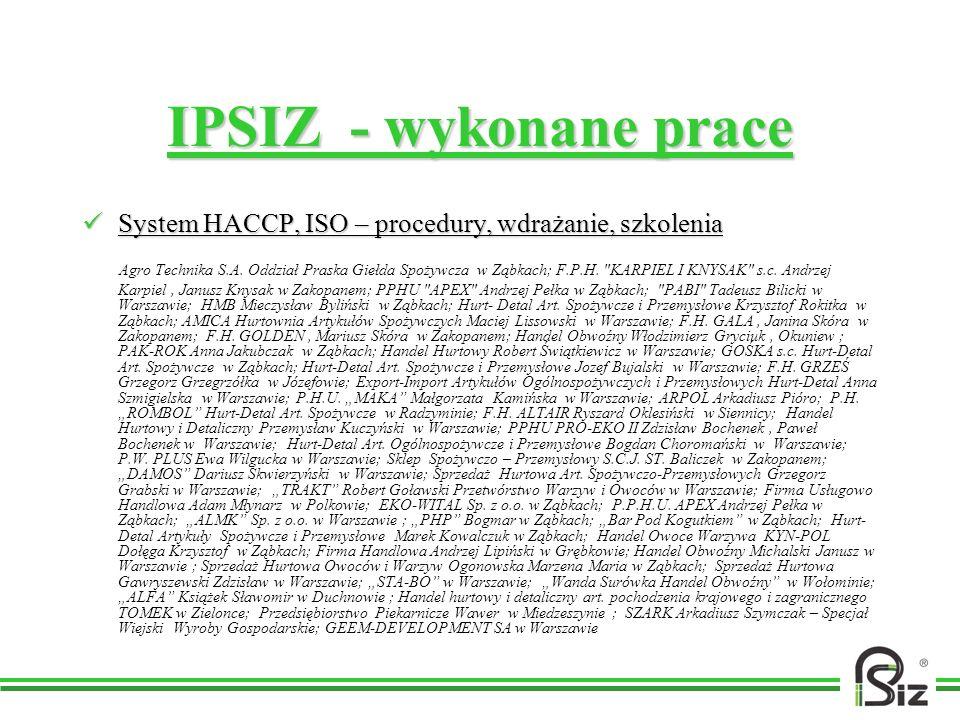 IPSIZ - wykonane praceSystem HACCP, ISO – procedury, wdrażanie, szkolenia.