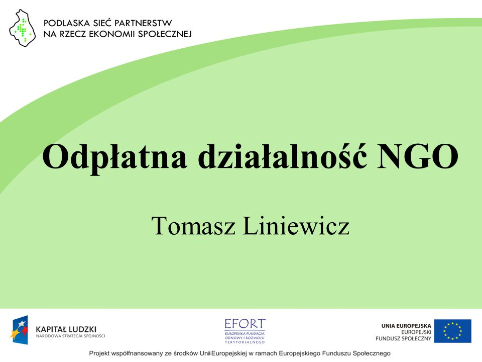 Odpłatna działalność NGO Tomasz Liniewicz