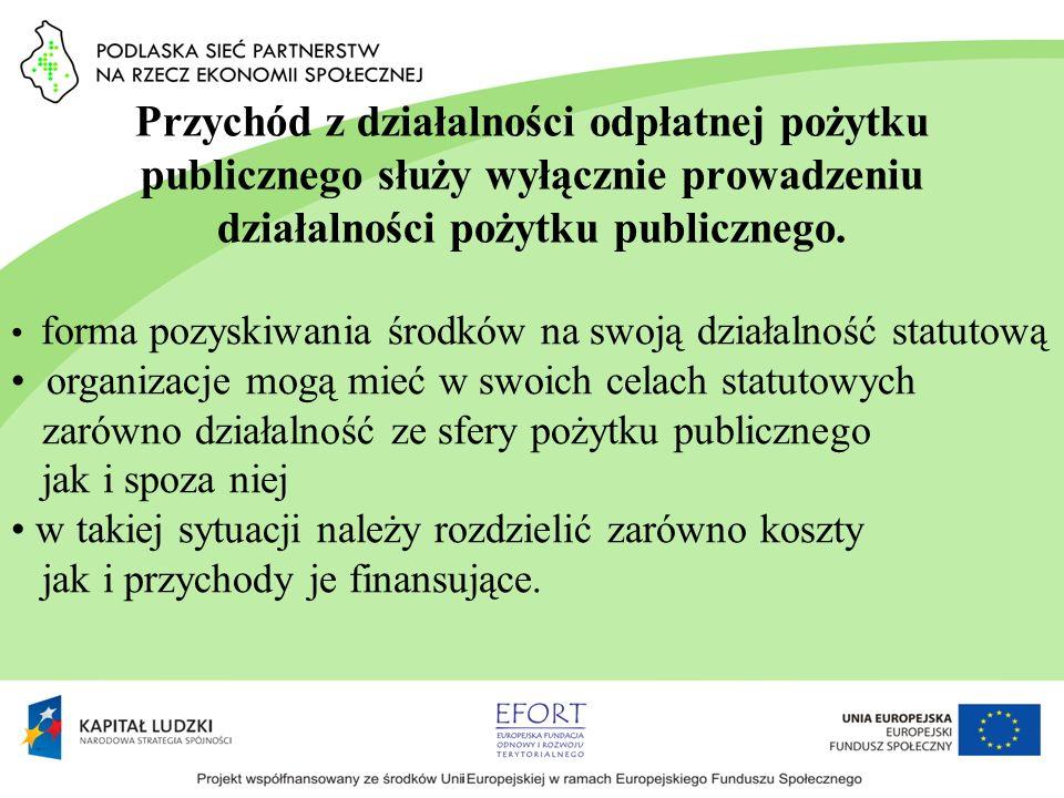 Przychód z działalności odpłatnej pożytku publicznego służy wyłącznie prowadzeniu działalności pożytku publicznego.