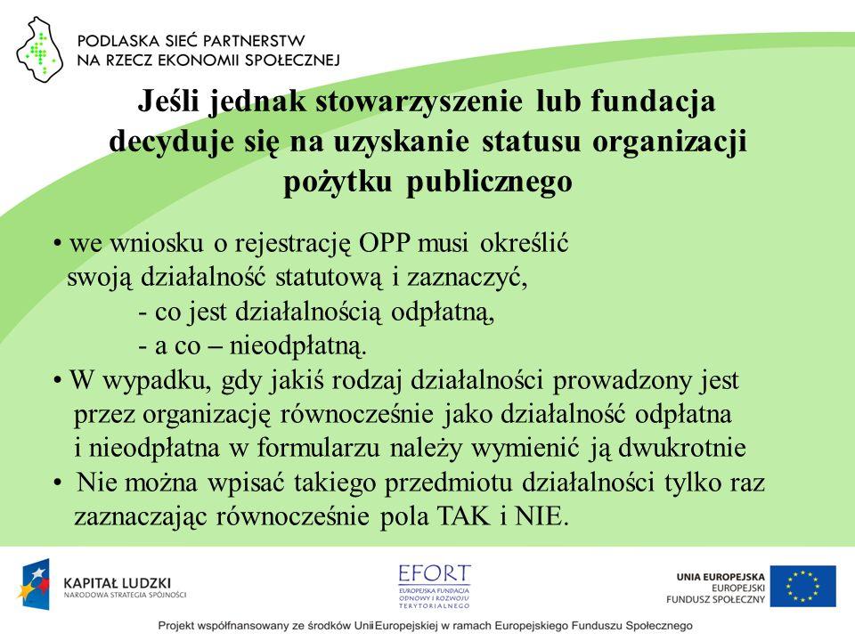 Jeśli jednak stowarzyszenie lub fundacja decyduje się na uzyskanie statusu organizacji pożytku publicznego