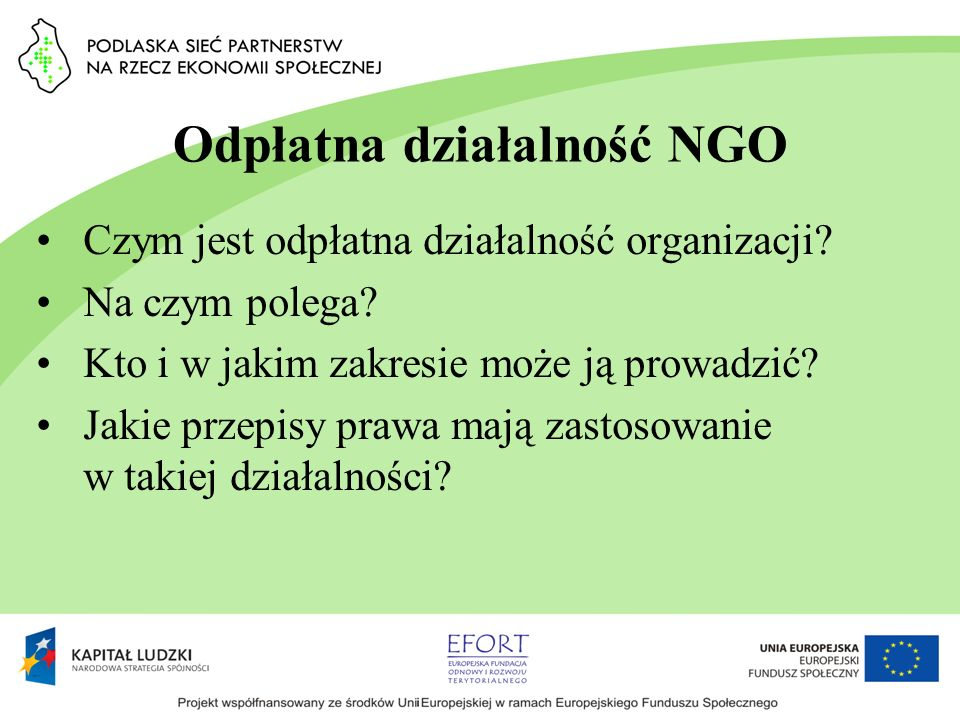 Odpłatna działalność NGO