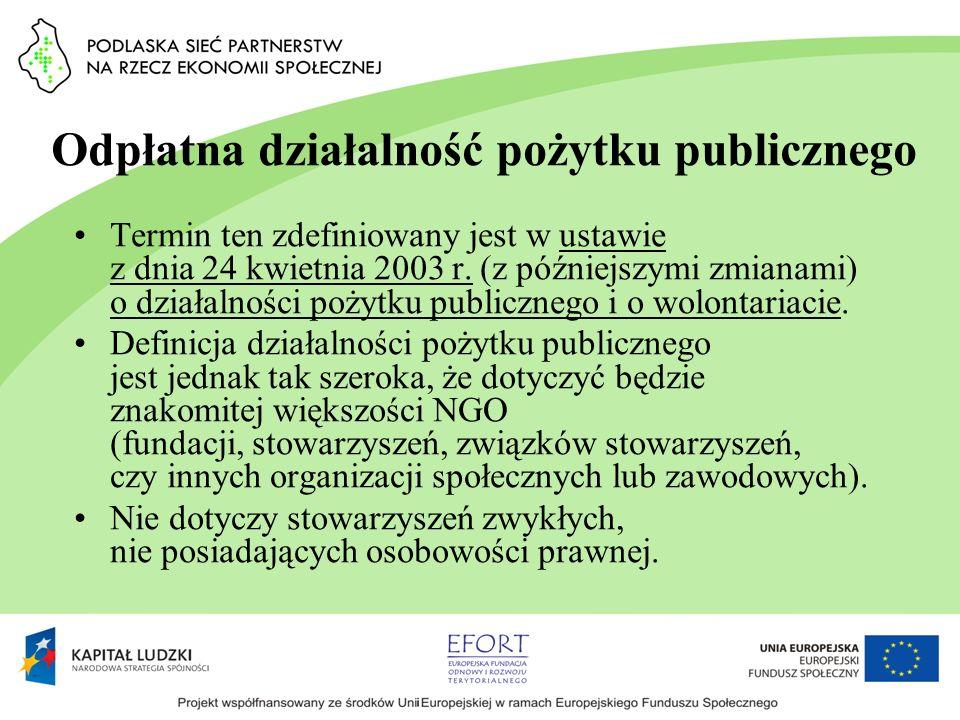 Odpłatna działalność pożytku publicznego