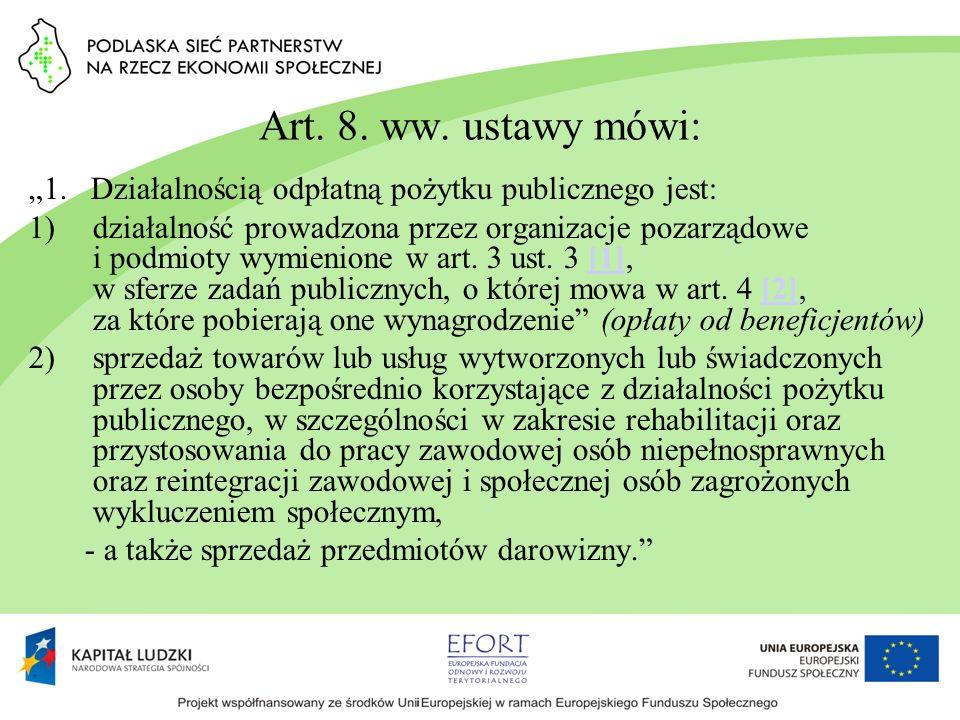 """Art. 8. ww. ustawy mówi: """"1. Działalnością odpłatną pożytku publicznego jest:"""